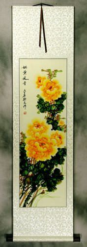 Yellow Peony Flower<br>Chinese Wall Scroll
