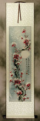 Asian Snow Plum Blossom Wall Scroll