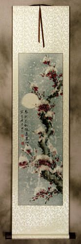 Snow Plum Blossom Asian Wall Scroll