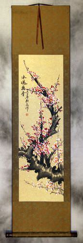 Pink Chinese Plum Blossom Silk Wall Scroll