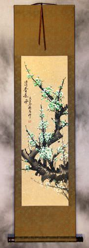 Fragrant Green Plum Blossoms Wall Scroll