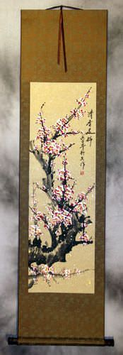 Pink Plum Blossom Asian Wall Scroll