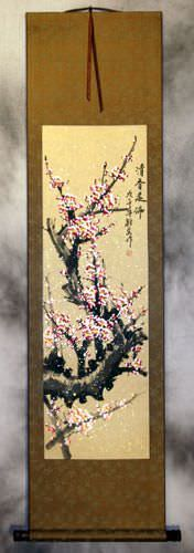 Pink Plum Blossom Chinese Wall Scroll
