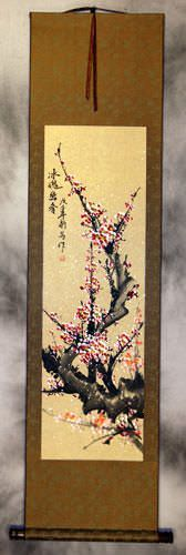 Pink Plum Blossoms Wall Scroll