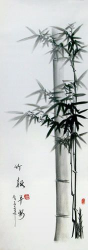 This Chinese bamboo charcoal drawing is another fine example of Mr. Wang's Asian art