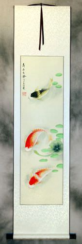 Year In, Year Out, Have Riches Chinese Koi Fish Wall Scroll
