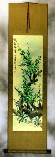 Asian Green Plum Blossoms Wall Scroll