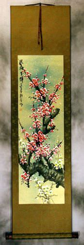 Reddish-Pink Plum Blossom - Chinese Wall Scroll