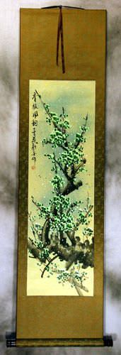 Chinese Green Plum Blossom Silk Wall Scroll