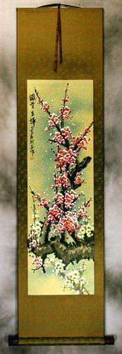 Colorful Pink and White Plum Blossom Wall Scroll