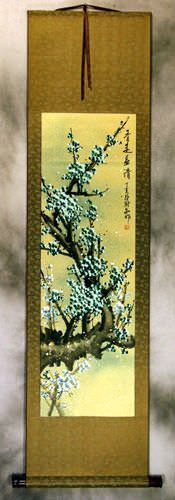 Blue Plum Blossom Colorful Wall Scroll
