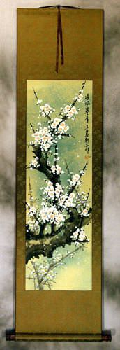 White Plum Blossom Wall Scroll