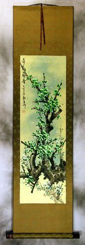 Chinese Green Plum Blossoms Wall Scroll