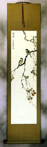 Gazing The Far Distance - Bird and Flower Wall Scroll