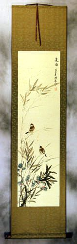 Summer Wishes - Bird and Flower Wall Scroll