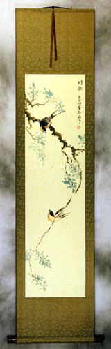 The Song of the Couple - Bird and Flower Wall Scroll