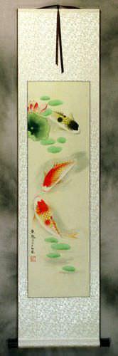 Koi Fish Having Fun in Lotus Pond Wall Scroll