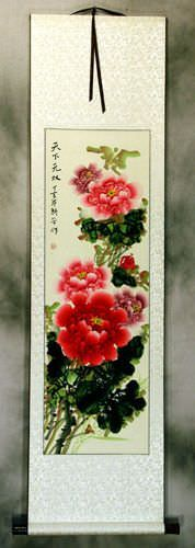 Red and Pink Peony Flower<br>Asian Wall Scroll