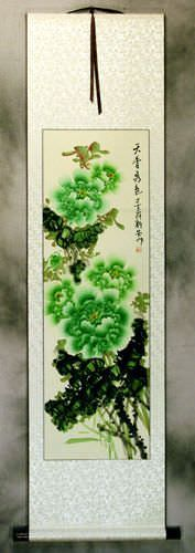 Green Peony Flower Chinese WallScroll