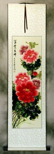 Long Red and Pink Peony Flower Wall Scroll