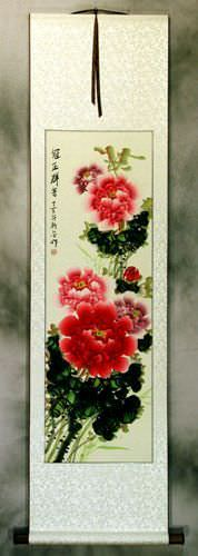 Peony Flower Colorful Wall Scroll