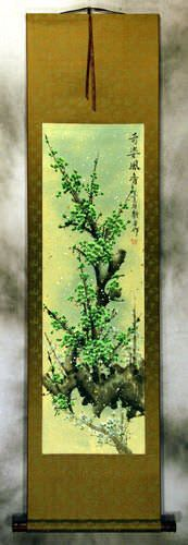 Colorful Green Plum Blossoms Wall Scroll