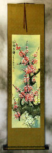 Pink Plum Blossom Wall Scroll