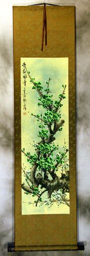 Chinese Green Plum Blossoms Silk Wall Scroll