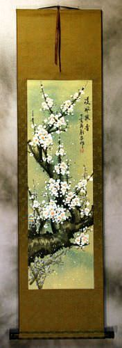 White Plum Blossom Chinese Wall Scroll