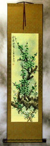 Strange Beauty Fragrant Wind<br>Green Plum Blossom Wall Scroll