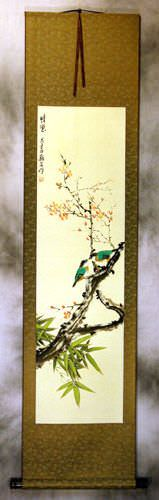 Friendship<br>Bird and Flower Wall Scroll