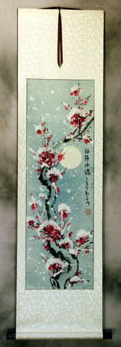 Ice Spirit - Chinese Snow Plum Blossom Wall Scroll