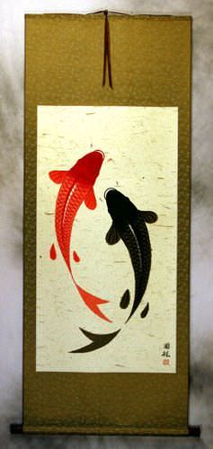 Big Yin Yang Fish Wall Scroll