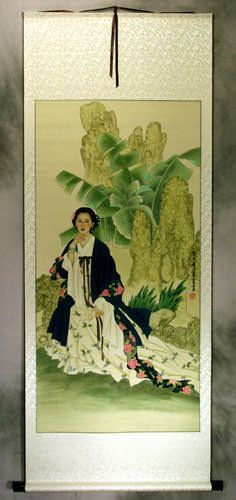 Woman and Palm Tree<br>Large Wall Scroll