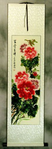 Colorful Flowers<br>Peony Wall Scroll