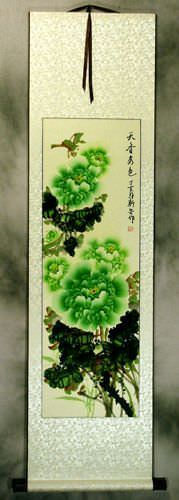 Green Chinese Peony Flower Wall Scroll