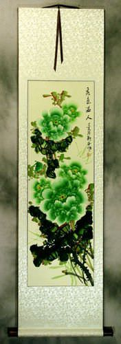 Green Peony Flower Asian WallScroll
