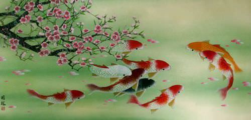 Koi Fish and Plum Blossoms - Large Vivid Asian Painting