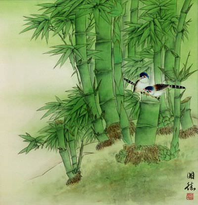 Birds and Green Bamboo Painting