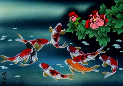 "See how ""Nine Koi Fish Masterpiece - Asian Painting"" would look after being professionally framed"