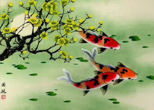 "See how ""Koi Fish & Plum Blossom Painting"" would look after being professionally framed"