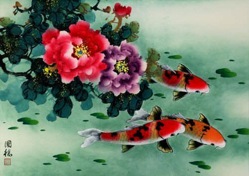 "See how ""Koi Fish & Peony Flowers Art"" would look after being professionally framed"