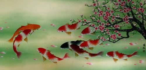 "See how ""Koi Fish & Plum Blossom Asian Painting"" would look after being professionally framed"