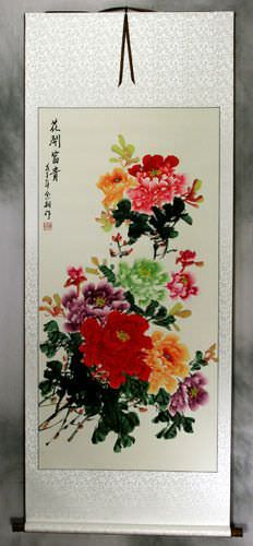 Extra-Large Colorful Peony Flower Wall Scroll
