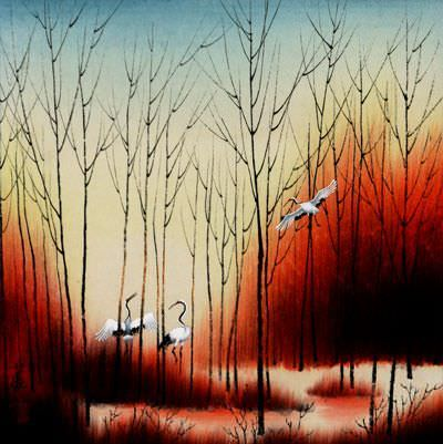 Sunset Dyes the Forest with Color - Chinese Birds Painting