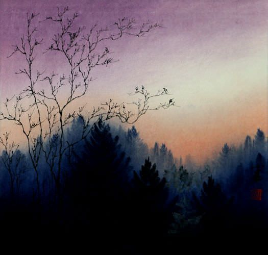Twilight Birds - Colorful Asian Landscape Painting