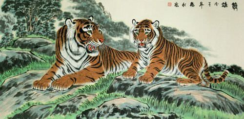 Tigers Take a Rest - Large Chinese Painting