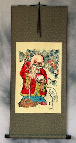 Longevity Saint<br>Woodblock Print Wall Scroll