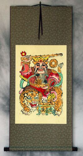 Saint of Money and Prosperity<br>Woodblock Print Wall Scroll