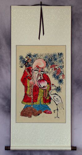 God of Longevity Holding Peach<br>Woodblock Print Wall Scroll